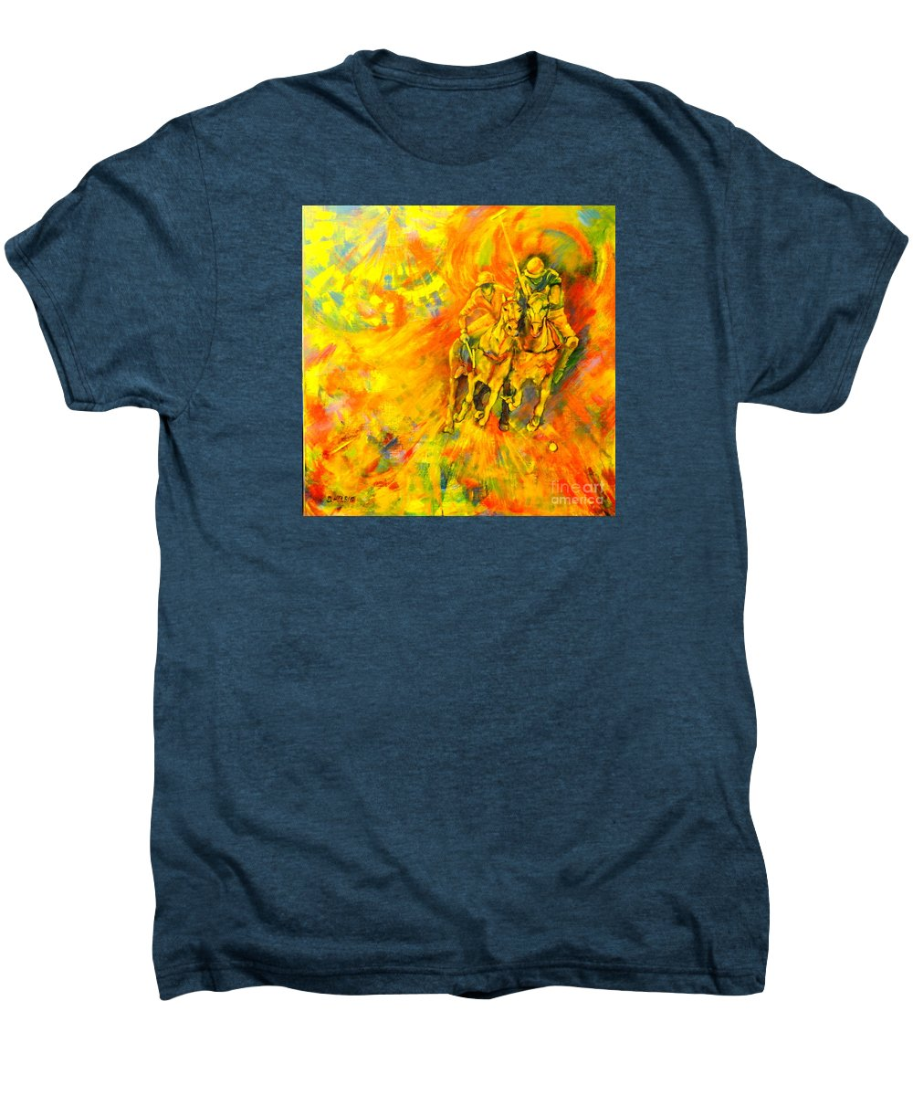 Horses Men's Premium T-Shirt featuring the painting Poloplayer by Dagmar Helbig
