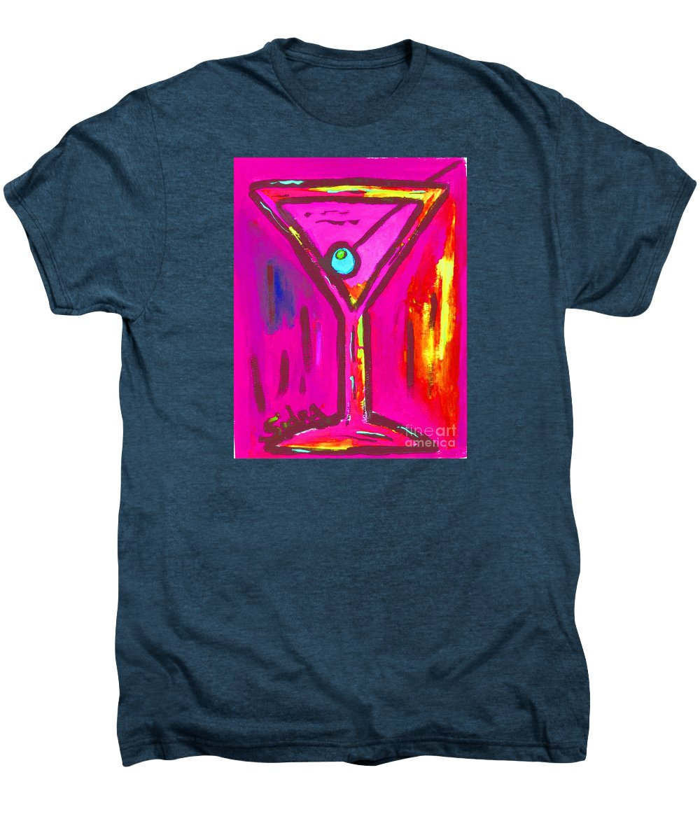 Martini Men's Premium T-Shirt featuring the painting Pop Art Martini Pink Neon Series 1989 by Sidra Myers
