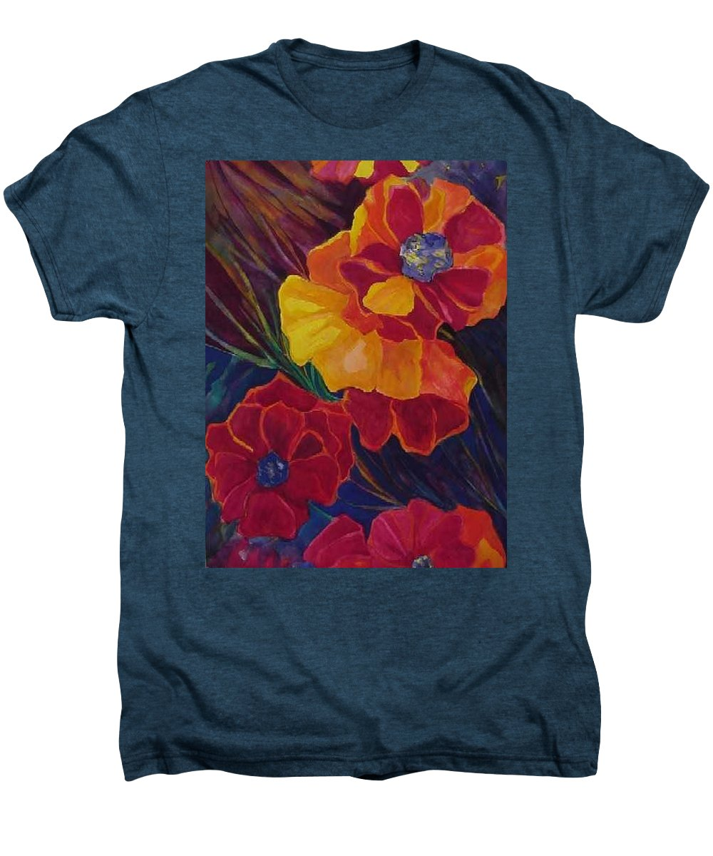 Flowers Men's Premium T-Shirt featuring the painting Poppies by Carolyn LeGrand