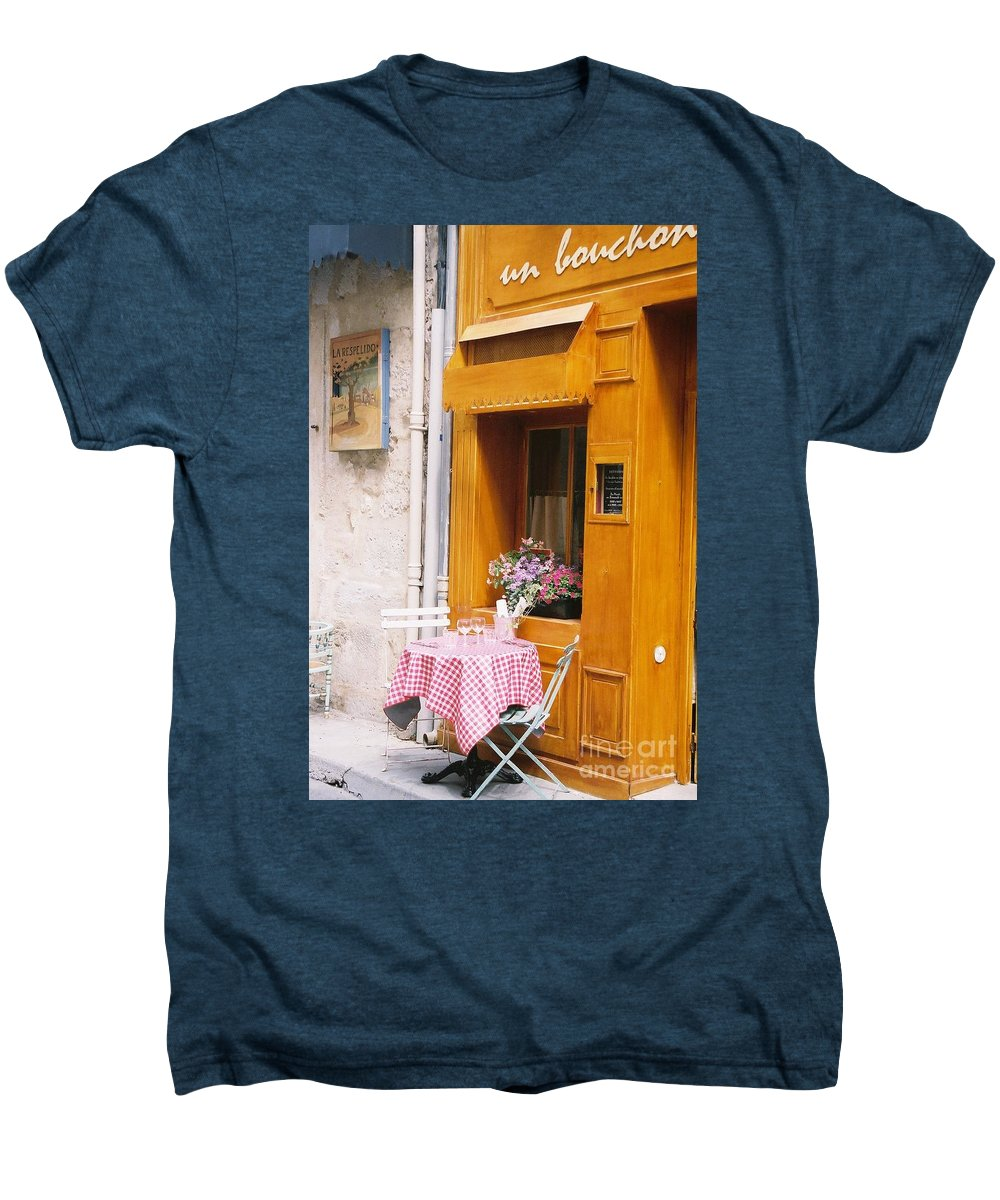 Cafe Men's Premium T-Shirt featuring the photograph Provence Cafe by Nadine Rippelmeyer