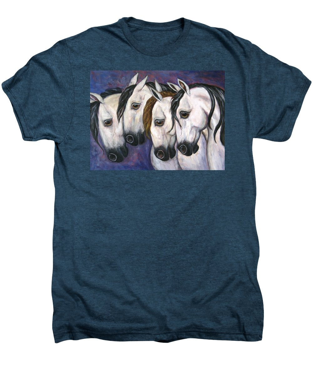 Horse Painting Men's Premium T-Shirt featuring the painting Purple Haze by Frances Gillotti