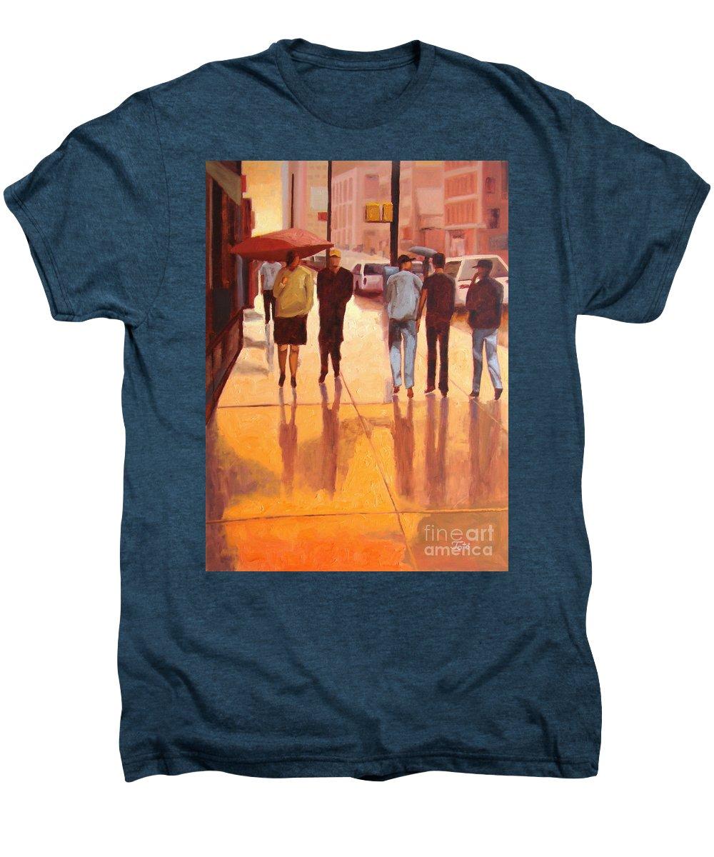 Manhattan Men's Premium T-Shirt featuring the painting Rain In Manhattan Number Eighteen by Tate Hamilton