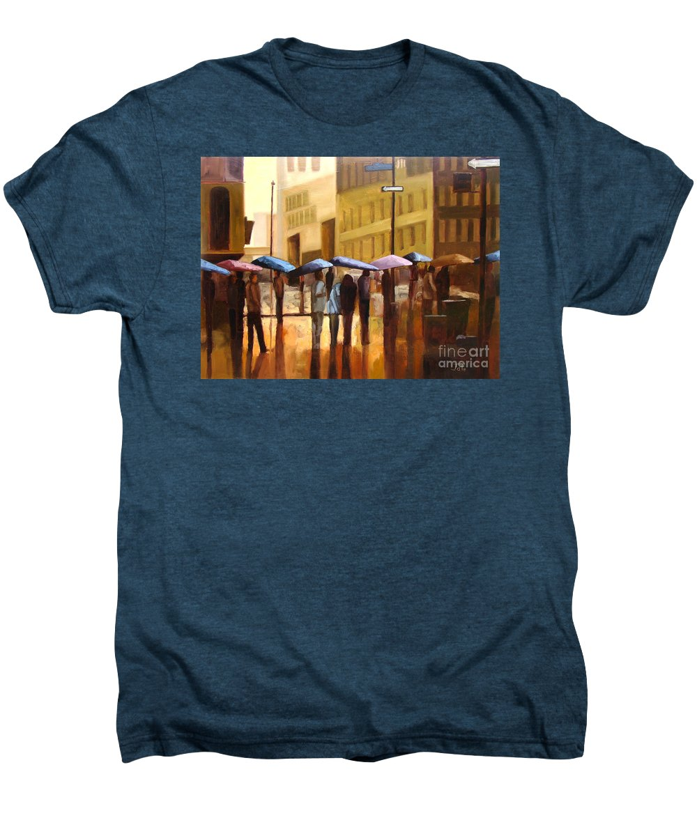 Cityscape Men's Premium T-Shirt featuring the painting Rain In Manhattan Number Seventeen by Tate Hamilton