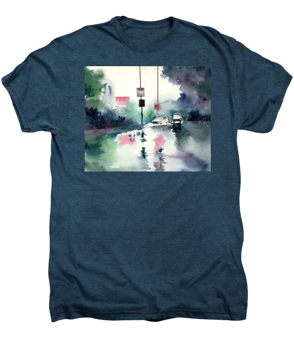 Nature Men's Premium T-Shirt featuring the painting Rainy Day by Anil Nene