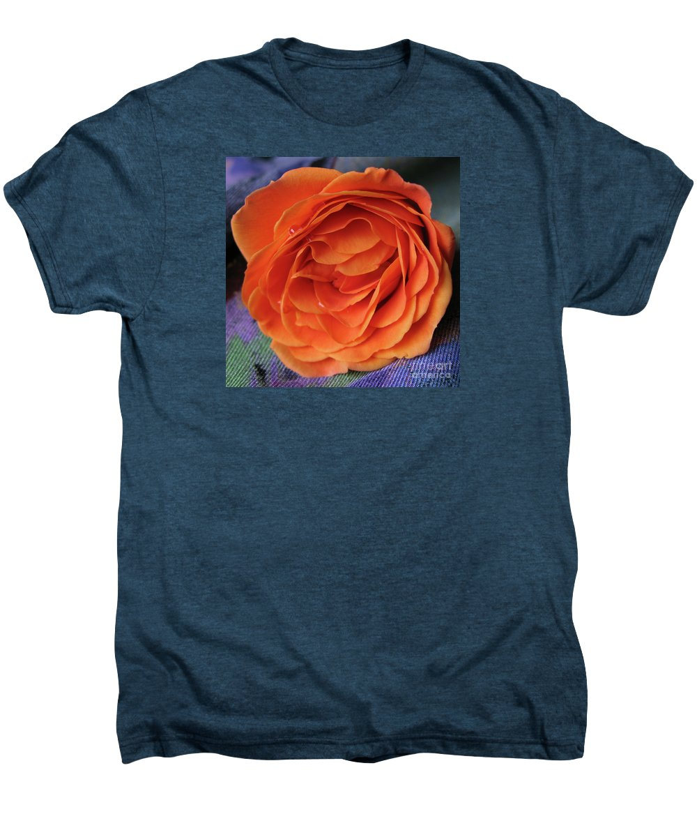 Rose Men's Premium T-Shirt featuring the photograph Really Orange Rose by Ann Horn