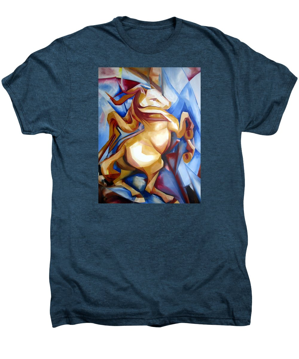 Horse Men's Premium T-Shirt featuring the painting Rearing Horse by Leyla Munteanu
