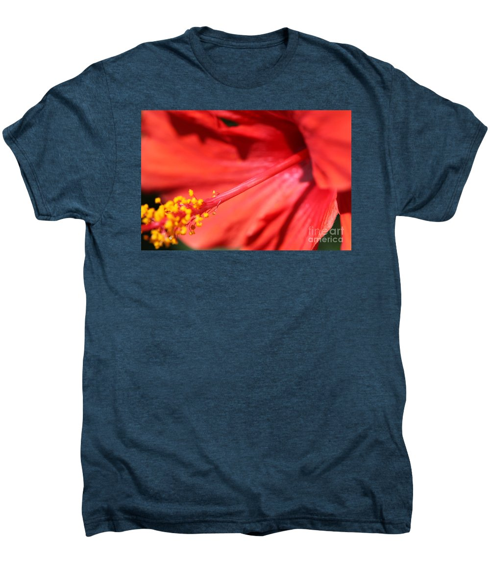 Red Men's Premium T-Shirt featuring the photograph Red Hibiscus by Nadine Rippelmeyer