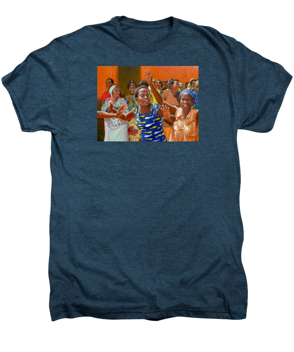 Realism Men's Premium T-Shirt featuring the painting Rejoice by Donelli DiMaria