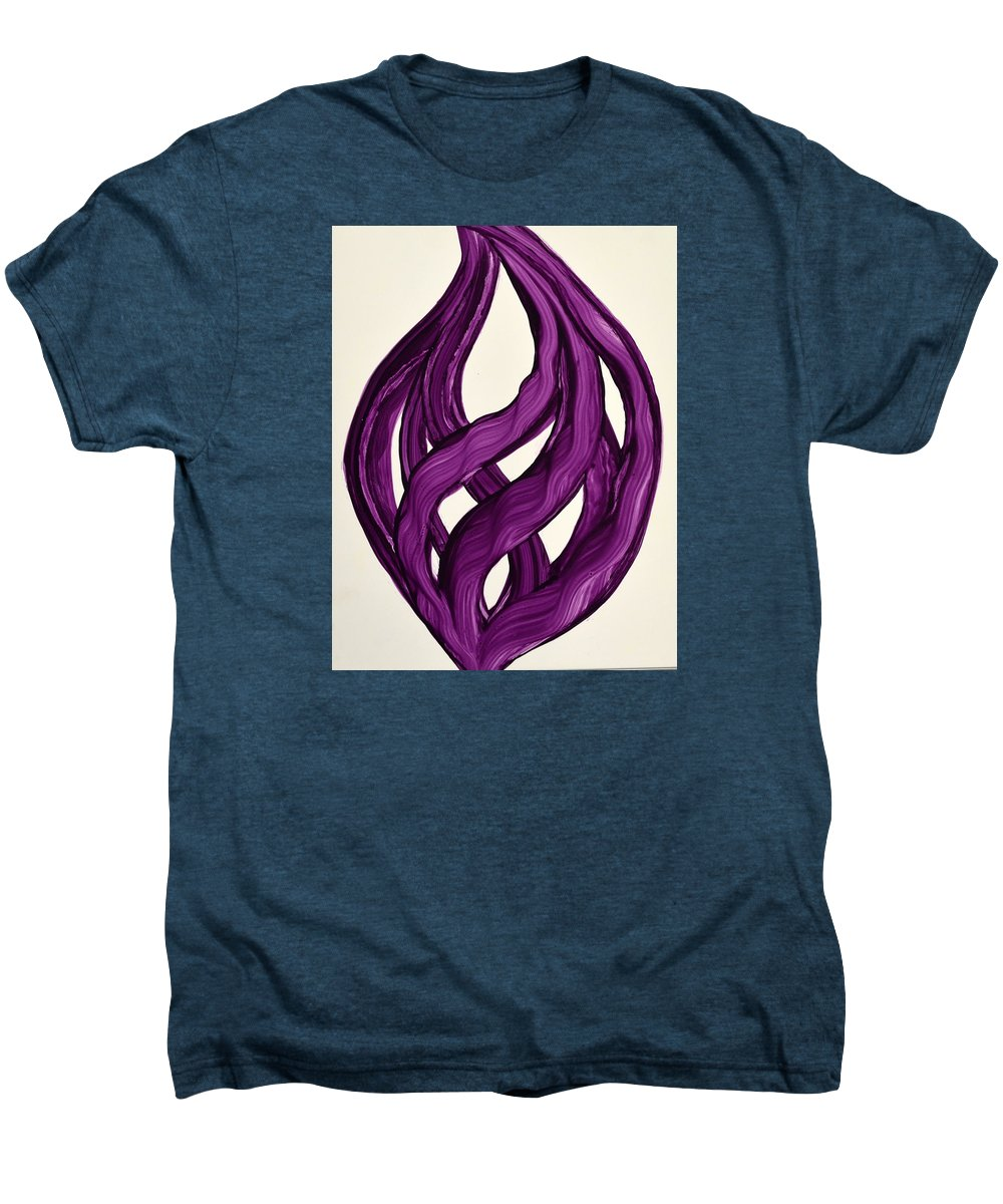 Abstract Art Yupo Comtemporary Modern Pop Romantic Vibrant Men's Premium T-Shirt featuring the painting Ribbons Of Love-violet by Manjiri Kanvinde