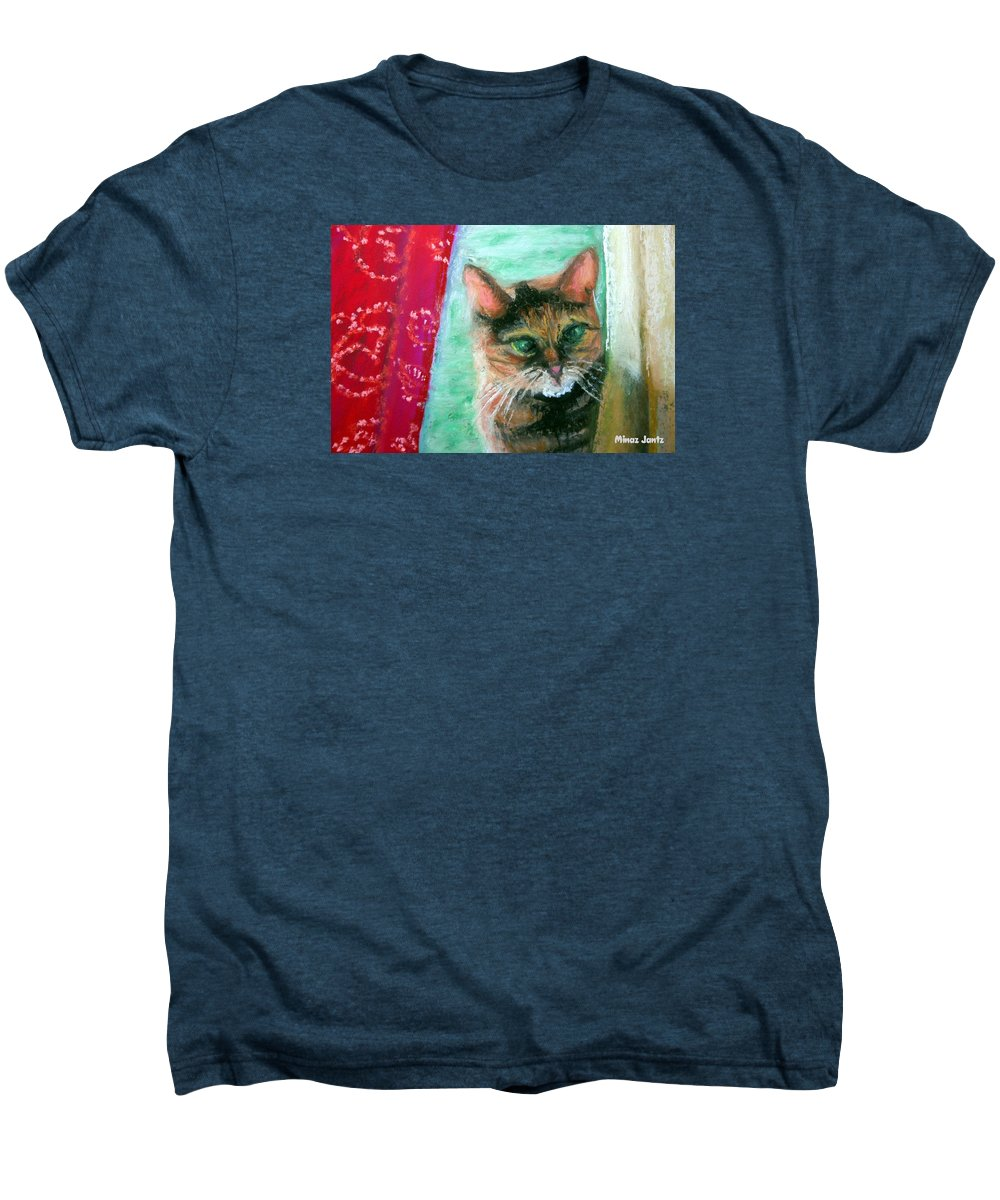 Cat Men's Premium T-Shirt featuring the painting Rosy In Color by Minaz Jantz