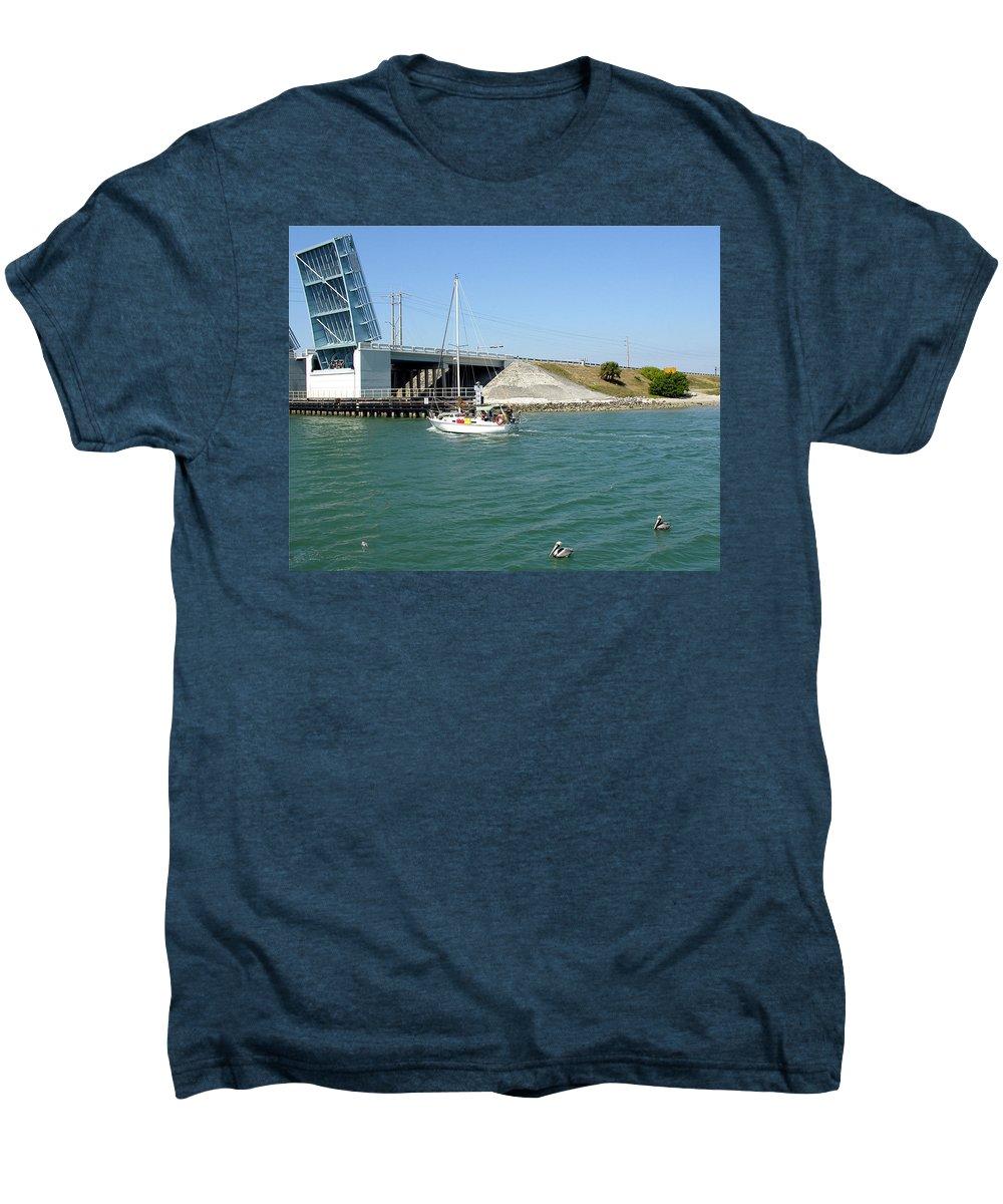 Port; Canaveral; Locks; Sail; Boat; Pelicans; Sailboat Drawbridge; Sailboat; Indian River; Indian; I Men's Premium T-Shirt featuring the photograph Sailing In Port Canaveral Florida by Allan Hughes