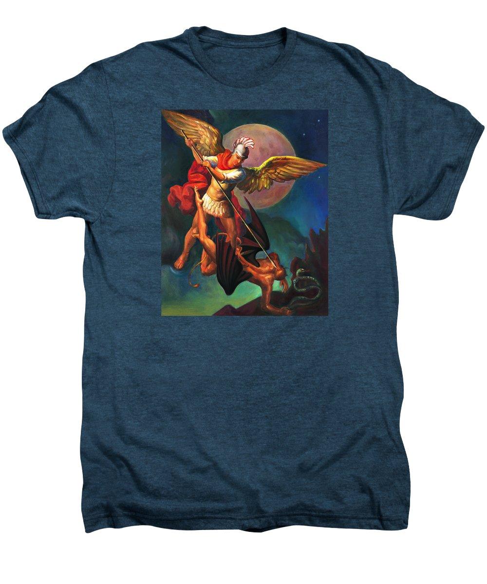 Bible Men's Premium T-Shirt featuring the painting Saint Michael The Warrior Archangel by Svitozar Nenyuk