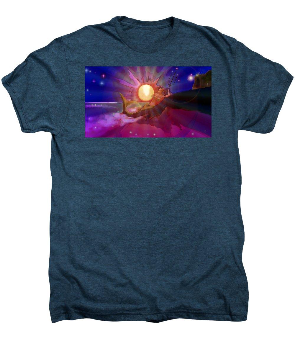 Sera Men's Premium T-Shirt featuring the digital art Sera Maroon by Mark Kleinschnitz