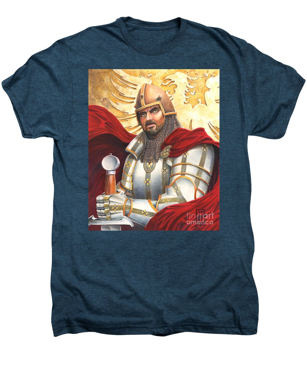 Swords Men's Premium T-Shirt featuring the drawing Sir Gawain by Melissa A Benson