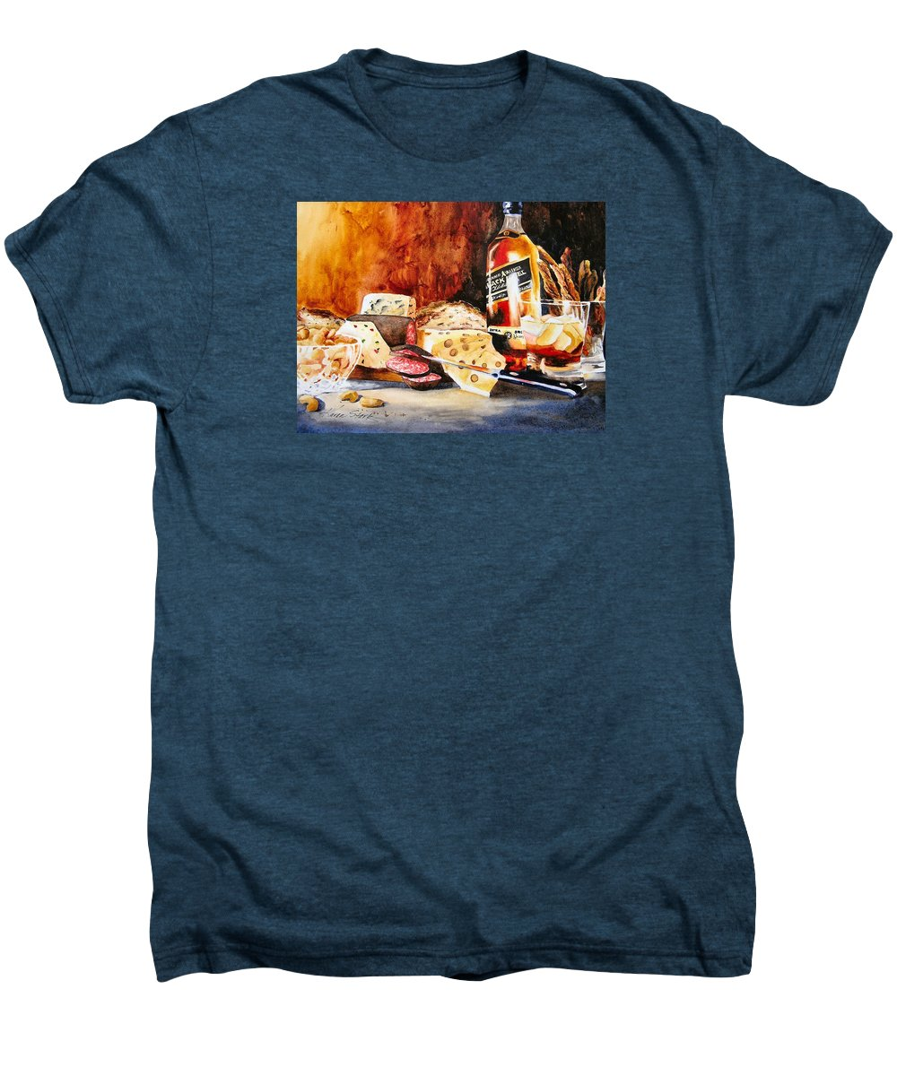 Scotch Men's Premium T-Shirt featuring the painting Spirited Indulgences by Karen Stark