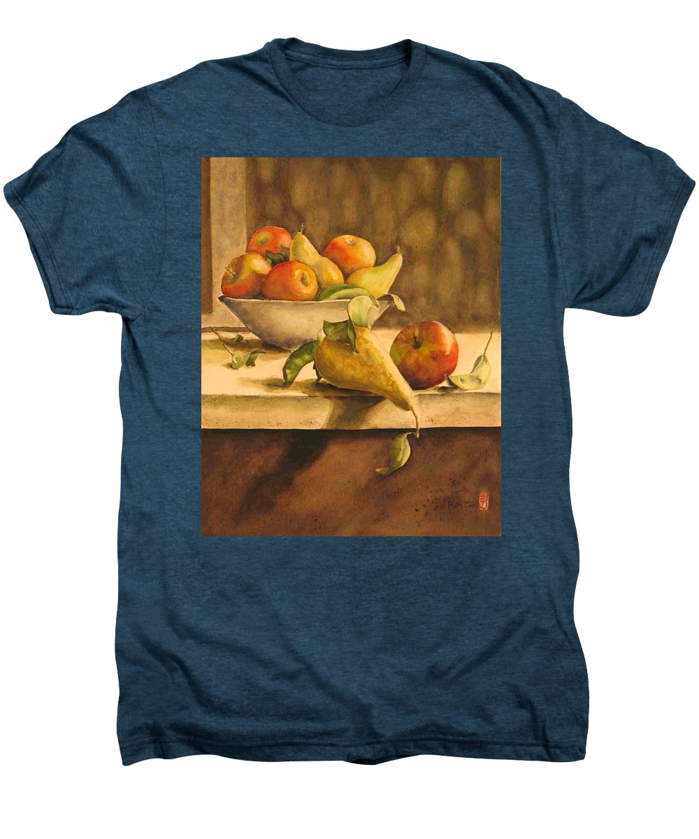 Still-life Men's Premium T-Shirt featuring the painting Still-life With Apples And Pears by Piety Choi