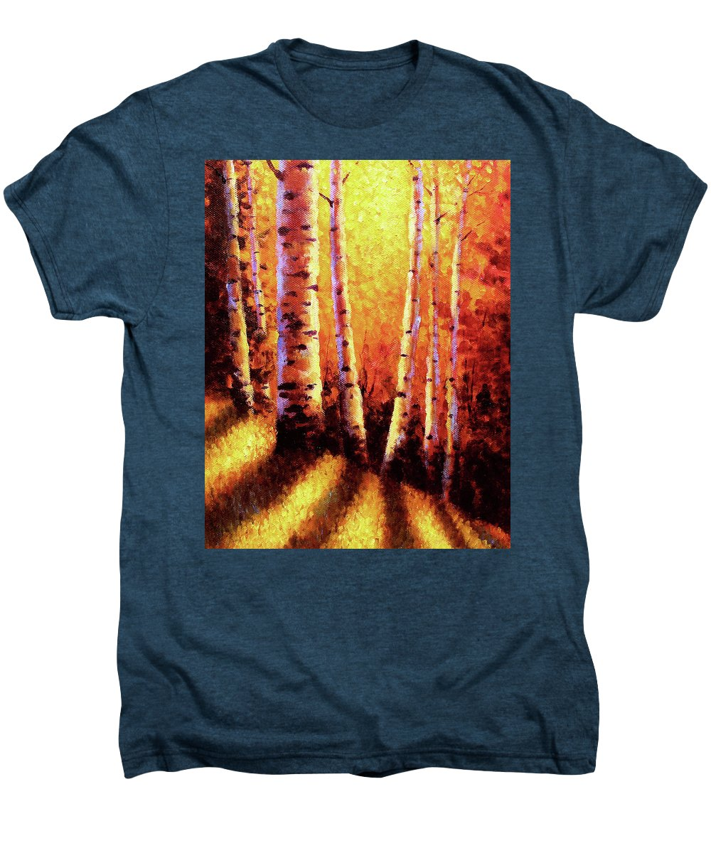 Sunlight Men's Premium T-Shirt featuring the painting Sunlight Through The Aspens by David G Paul