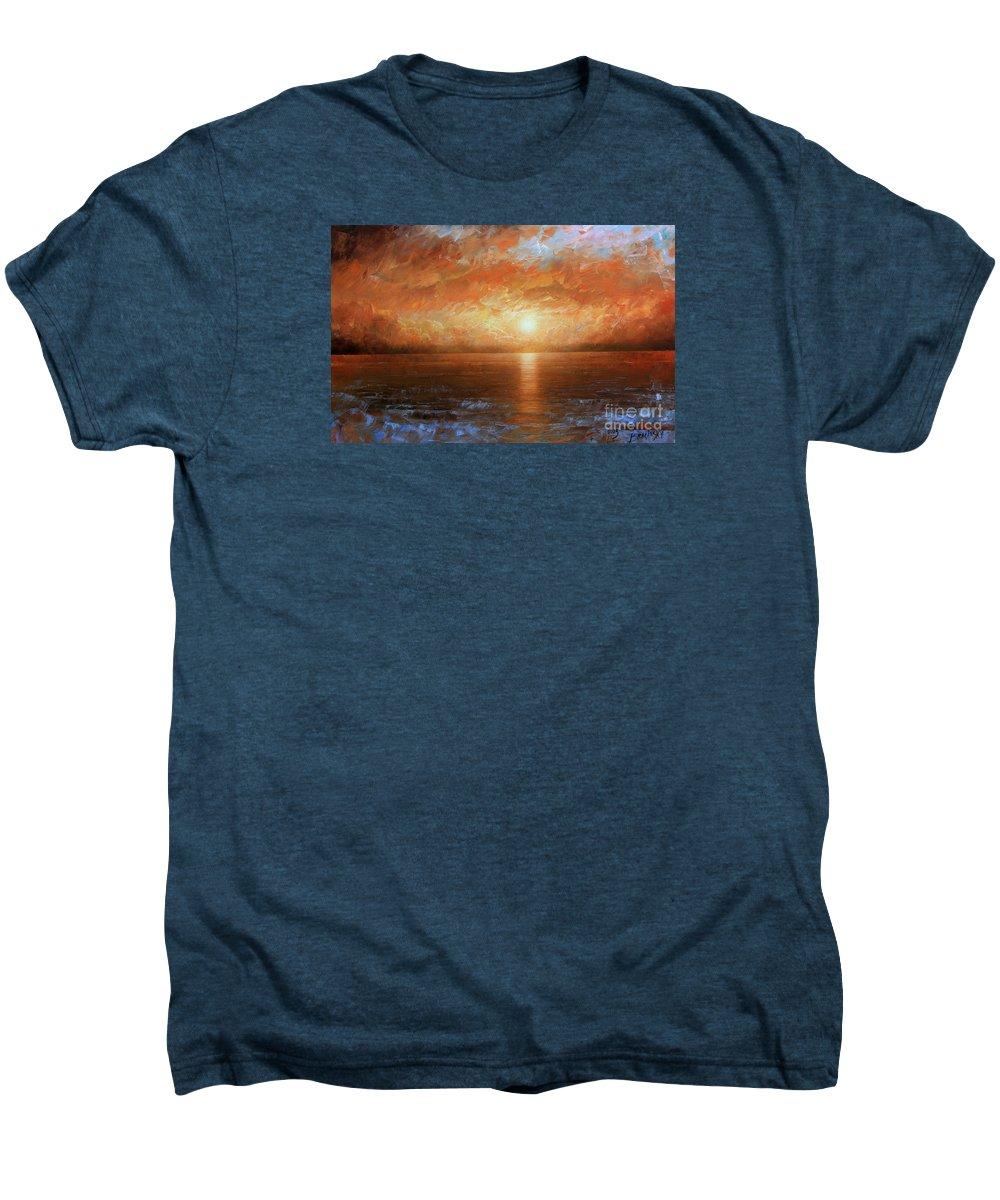 Landscape Men's Premium T-Shirt featuring the painting Sunset by Arthur Braginsky