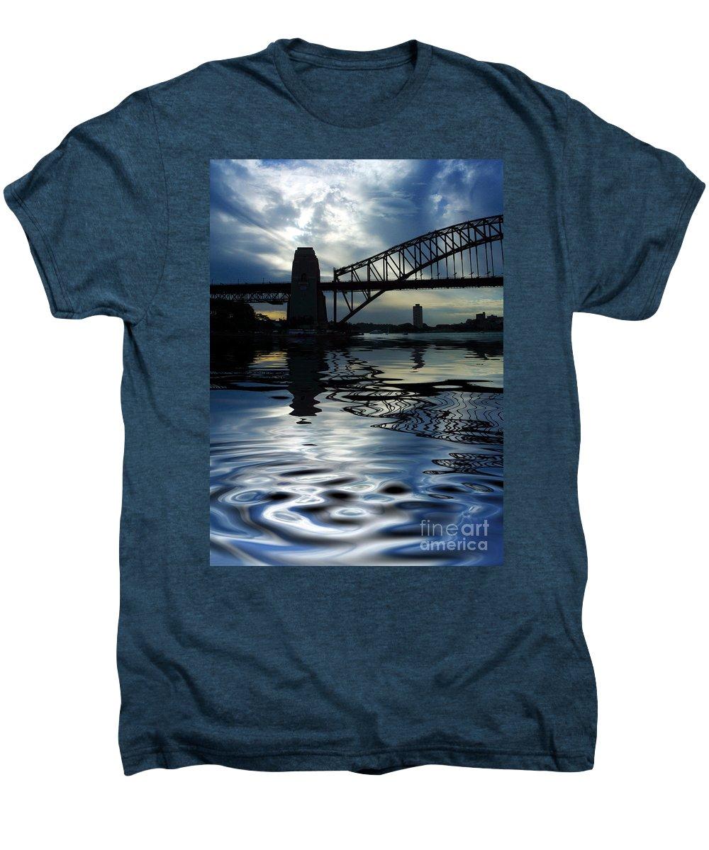 Sydney Harbour Australia Bridge Reflection Men's Premium T-Shirt featuring the photograph Sydney Harbour Bridge Reflection by Sheila Smart Fine Art Photography