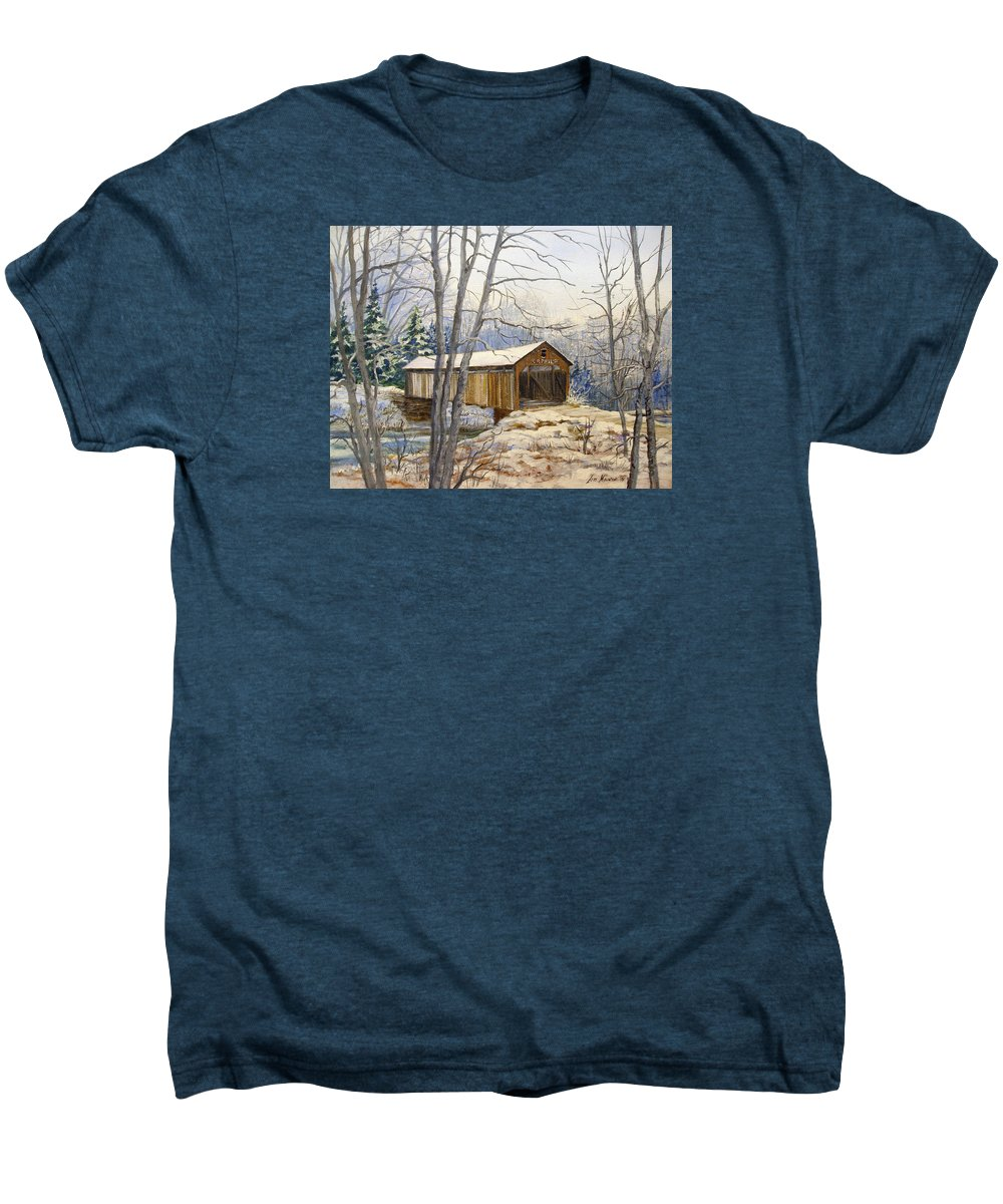 Oil Painting;bridge;covered Bridge;winter Scene;snow;landscape;winter Landscape; Men's Premium T-Shirt featuring the painting Teegarden Covered Bridge In Winter by Lois Mountz