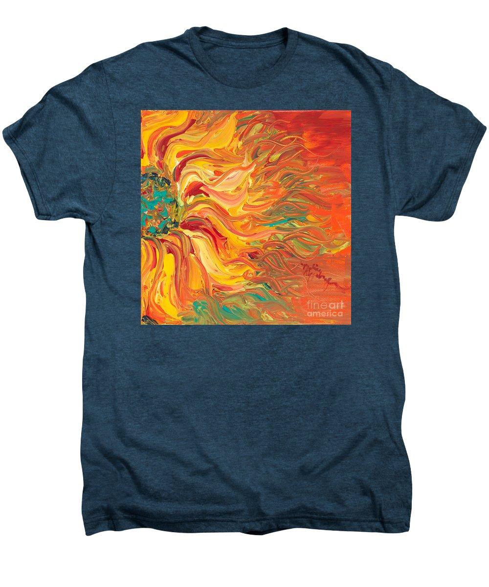 Sunjflower Men's Premium T-Shirt featuring the painting Textured Fire Sunflower by Nadine Rippelmeyer