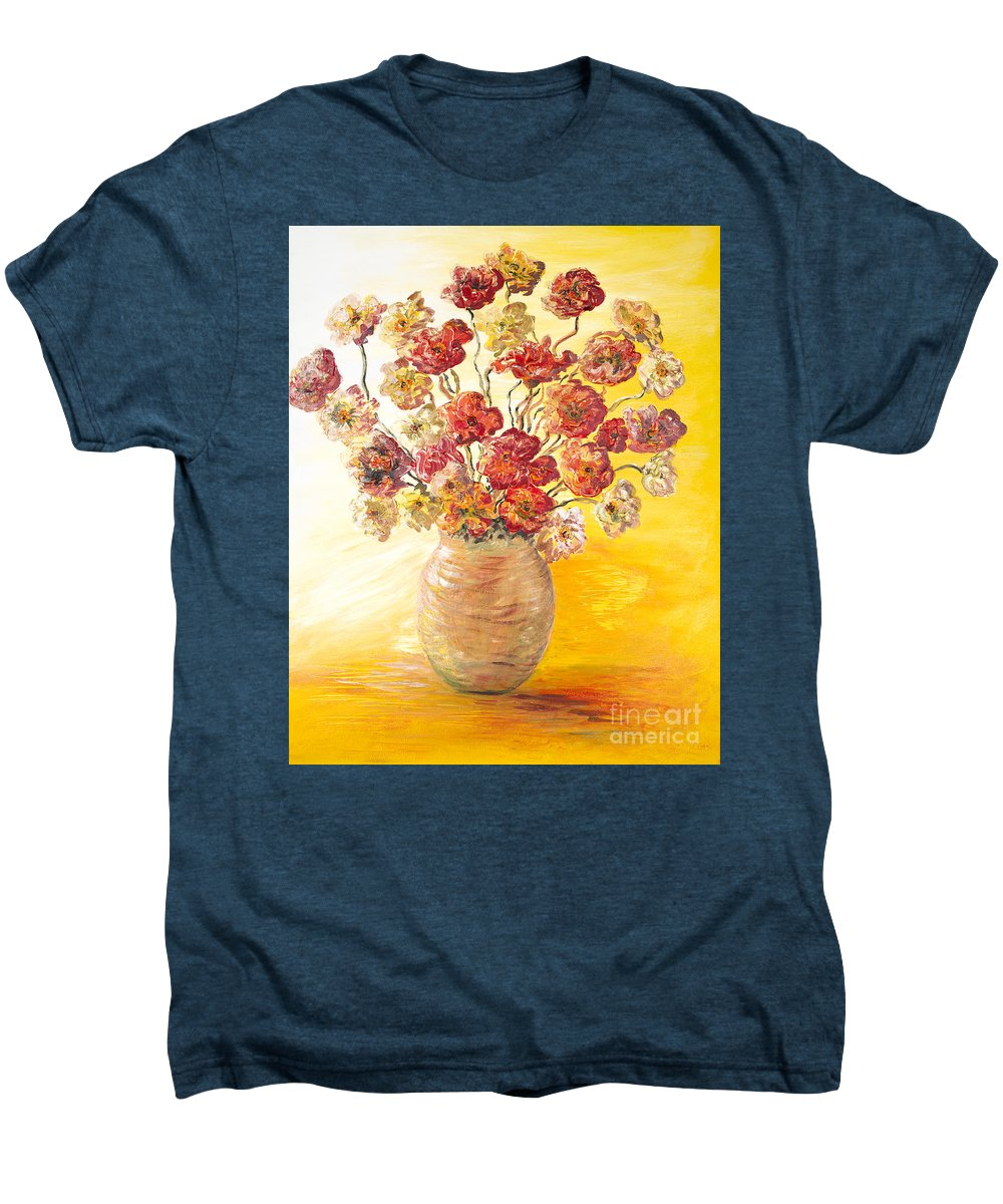 Flowers Men's Premium T-Shirt featuring the painting Textured Flowers In A Vase by Nadine Rippelmeyer