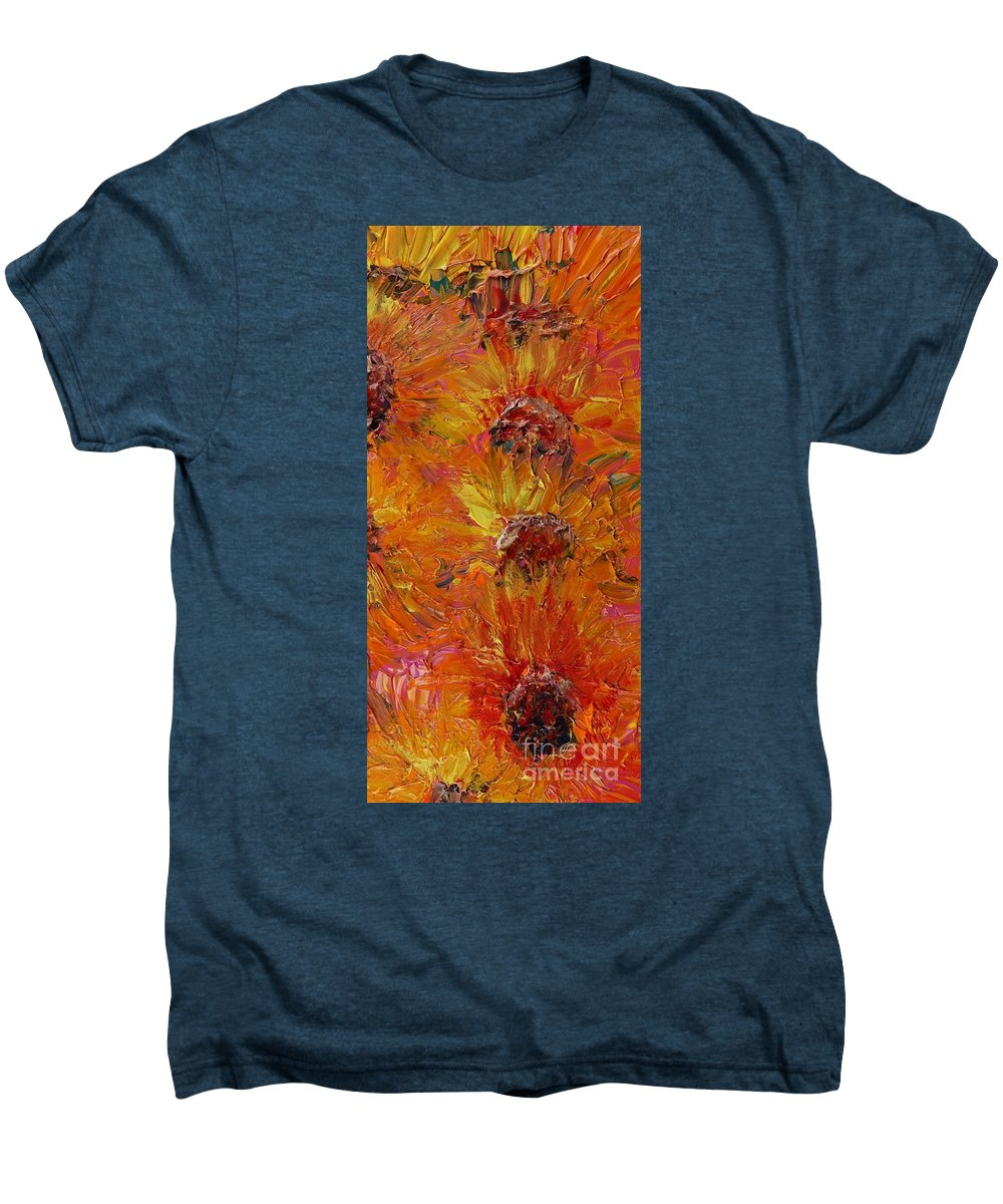 Sunflowers Men's Premium T-Shirt featuring the painting Textured Sunflowers by Nadine Rippelmeyer