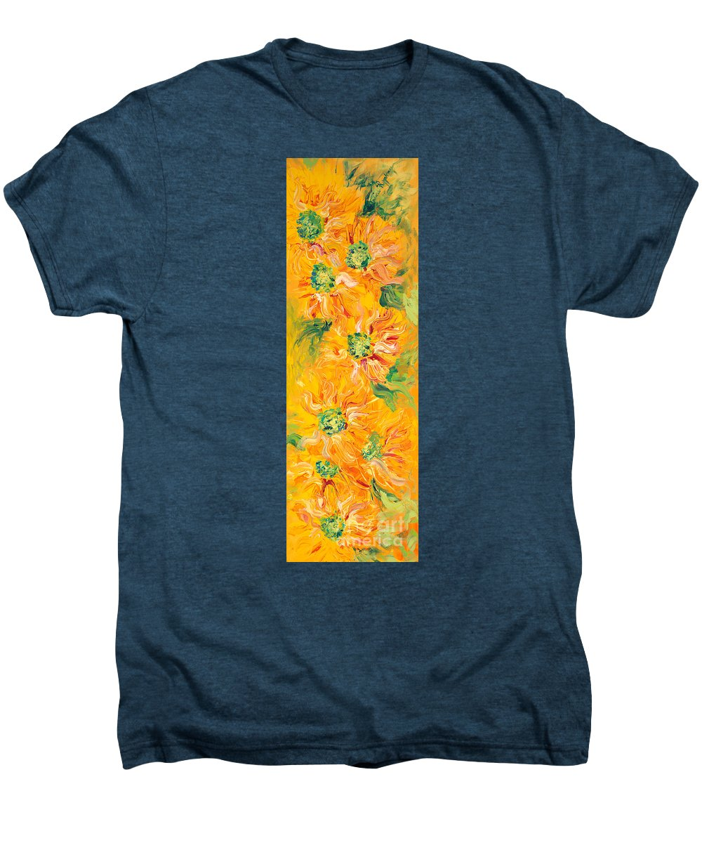 Yellow Men's Premium T-Shirt featuring the painting Textured Yellow Sunflowers by Nadine Rippelmeyer