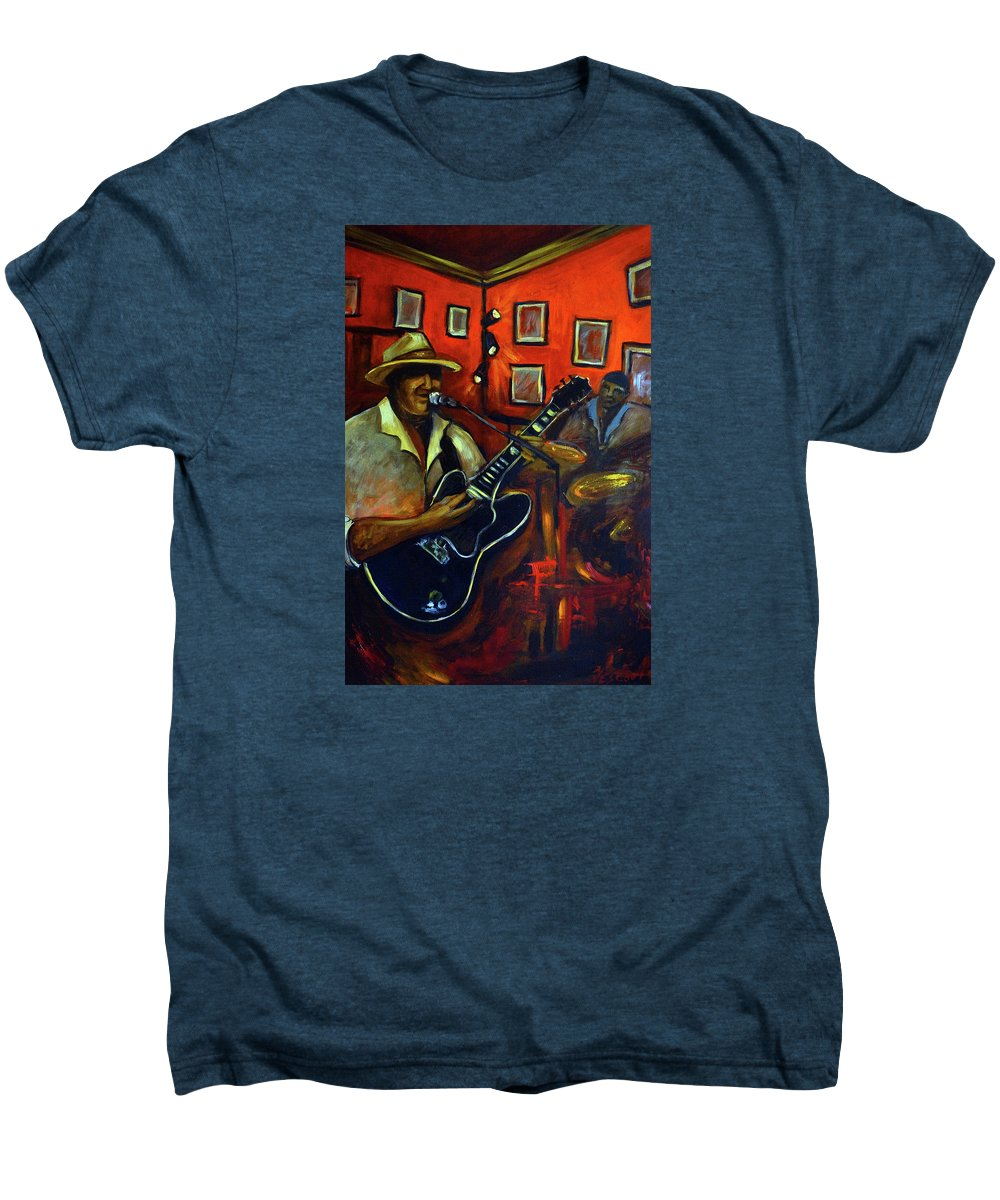 Blues Men's Premium T-Shirt featuring the painting The Back Room by Valerie Vescovi
