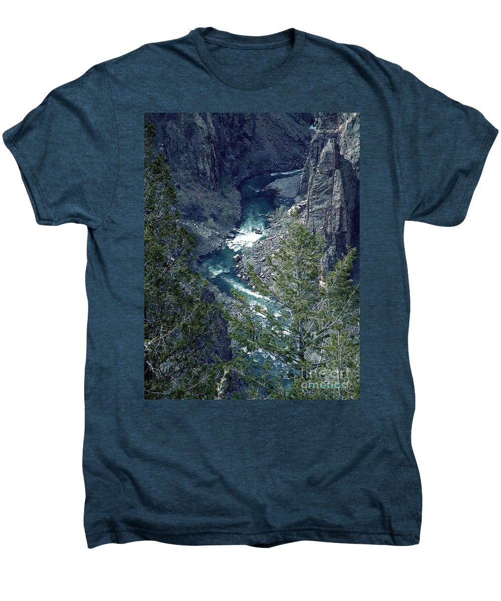 Canyon Men's Premium T-Shirt featuring the painting The Black Canyon Of The Gunnison by RC DeWinter