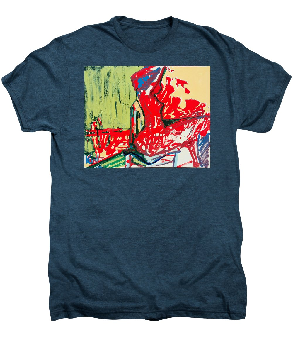 Woman Men's Premium T-Shirt featuring the painting The Blue Chair by Kurt Hausmann