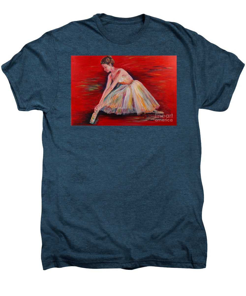 Dancer Men's Premium T-Shirt featuring the painting The Dancer by Nadine Rippelmeyer