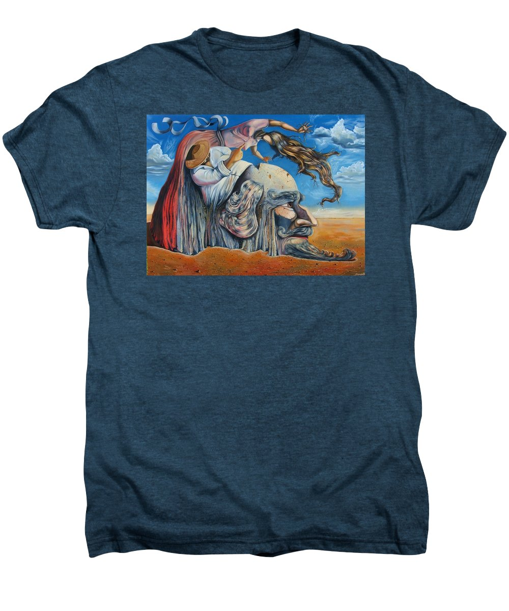 Surrealism Men's Premium T-Shirt featuring the painting The Eternal Obsession Of Don Quijote by Darwin Leon