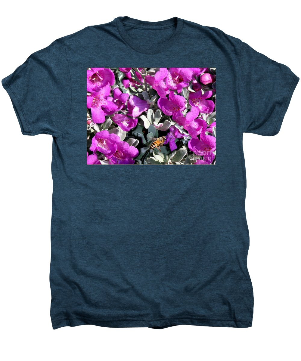 Nature Men's Premium T-Shirt featuring the photograph The Flight Of The Bumble Bee by Lucyna A M Green