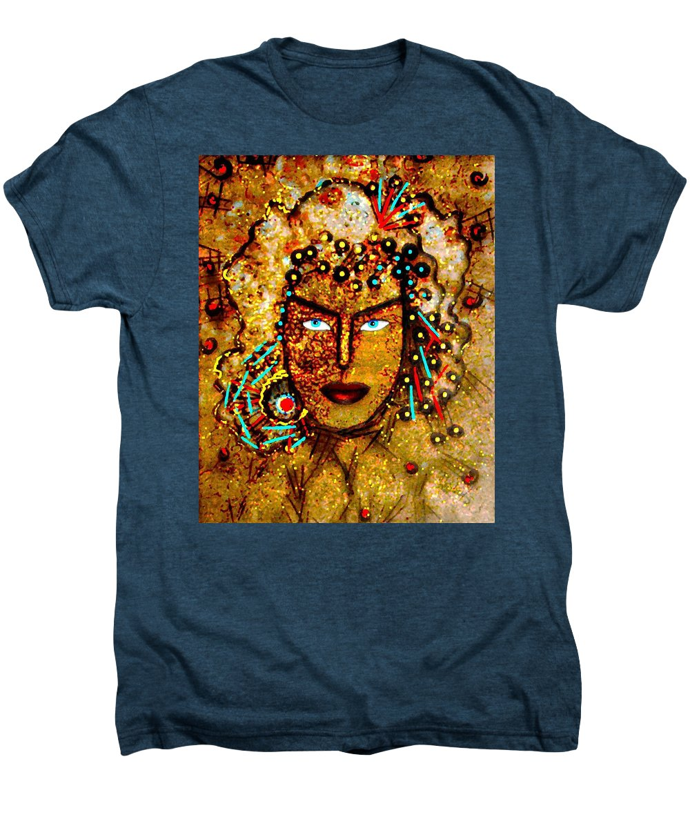 Goddess Men's Premium T-Shirt featuring the painting The Golden Goddess by Natalie Holland