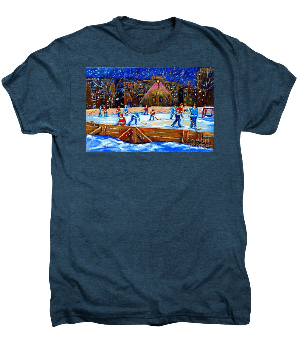 Snow Men's Premium T-Shirt featuring the painting The Hockey Rink by Carole Spandau