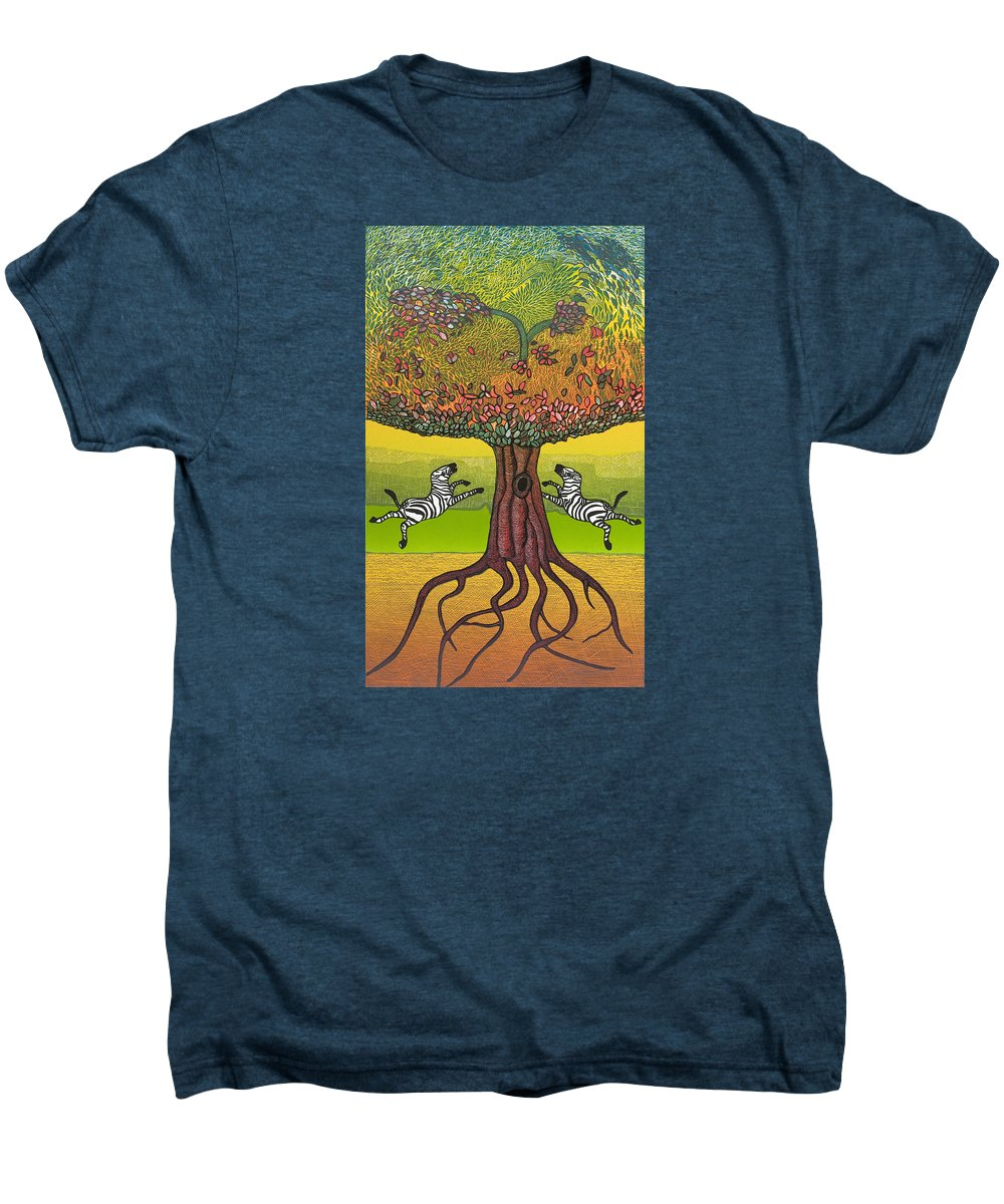 Landscape Men's Premium T-Shirt featuring the mixed media The Life-giving Tree. by Jarle Rosseland