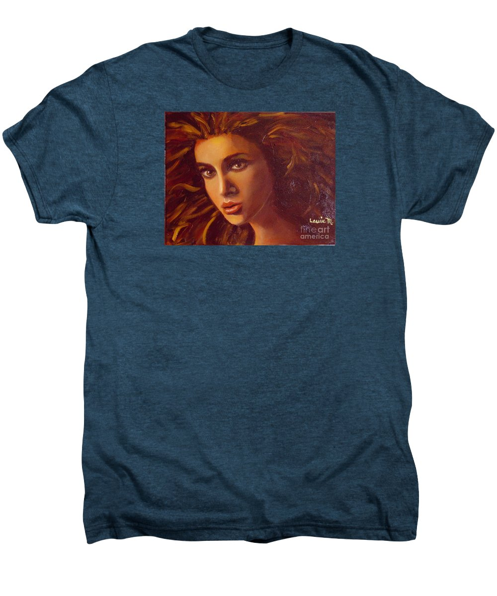 Portrait Men's Premium T-Shirt featuring the painting The Oracle by Laurie Morgan