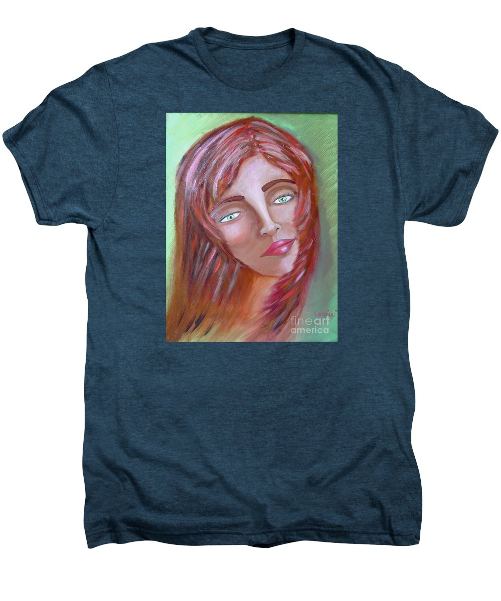 Redheads Men's Premium T-Shirt featuring the painting The Redhead by Laurie Morgan