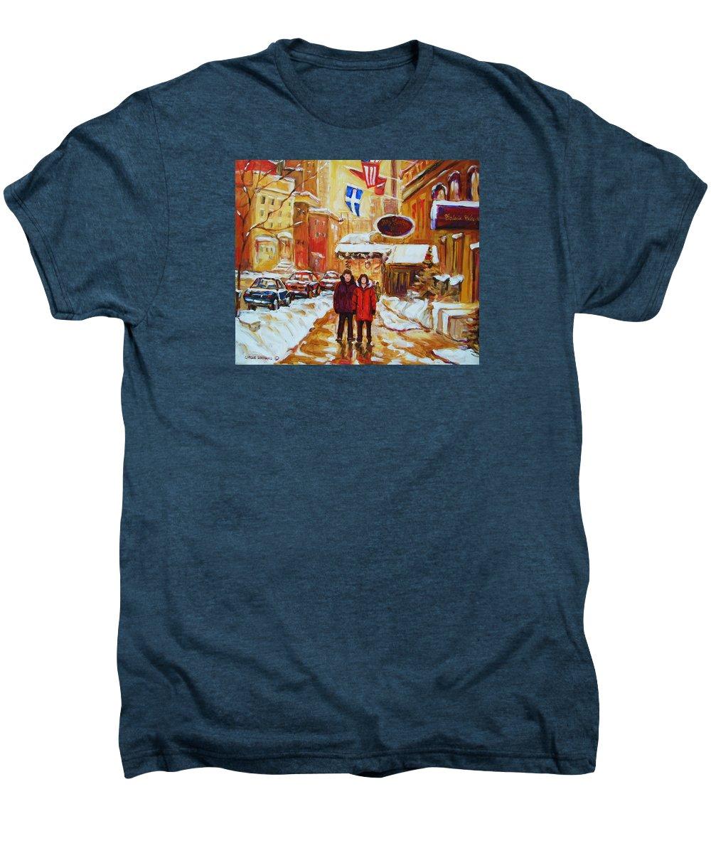 Streetscene Men's Premium T-Shirt featuring the painting The Ritz Carlton by Carole Spandau