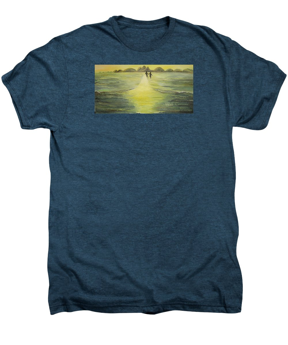 Soul Men's Premium T-Shirt featuring the painting The Road In The Ocean Of Light by Karina Ishkhanova