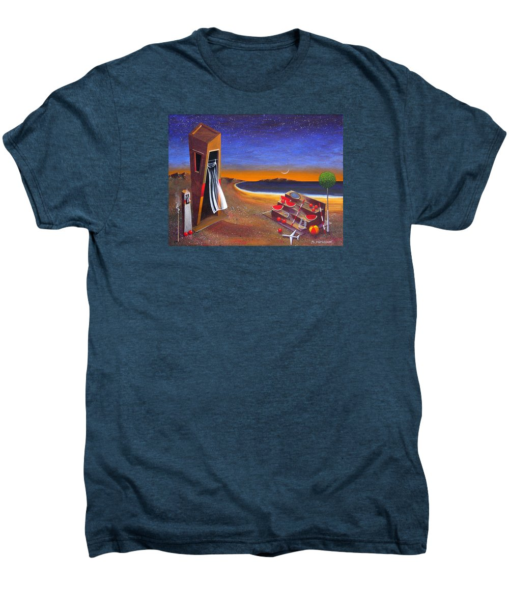Landscape Men's Premium T-Shirt featuring the painting The School Of Metaphysical Thought by Dimitris Milionis