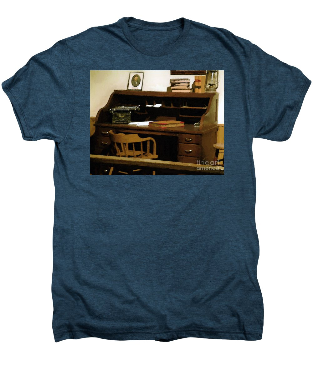 Antiques Men's Premium T-Shirt featuring the digital art The Sheriff Is Out by RC DeWinter