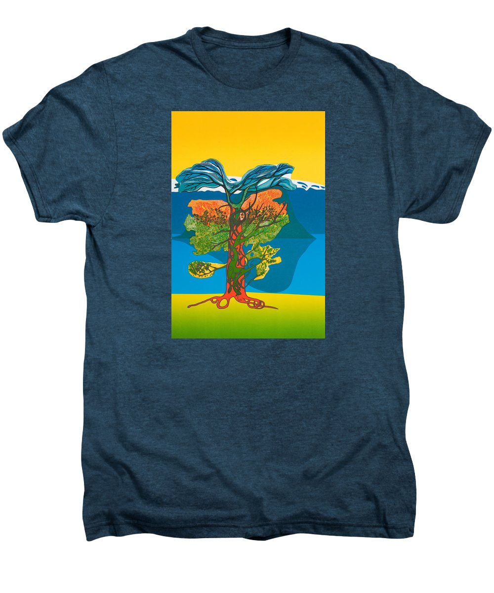Landscape Men's Premium T-Shirt featuring the mixed media The Tree Of Life. From The Viking Saga. by Jarle Rosseland