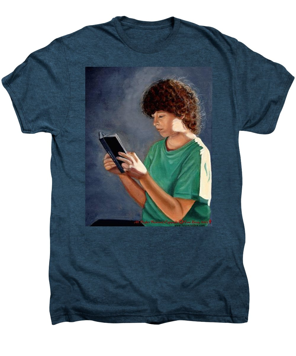 Portrait Men's Premium T-Shirt featuring the painting Thirst For Knowledge by Toni Berry