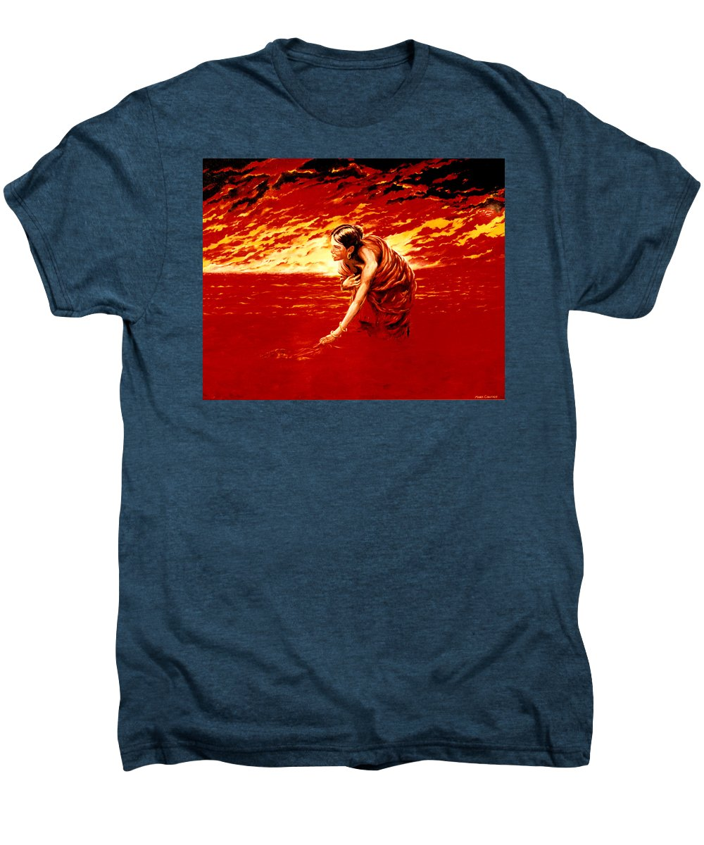 Seascape Men's Premium T-Shirt featuring the painting Tsunami by Mark Cawood