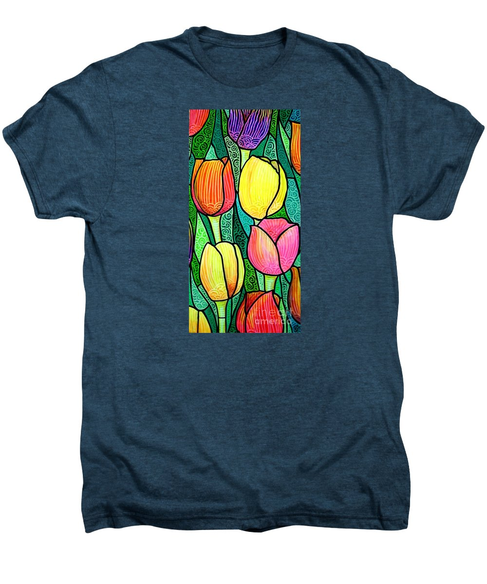 Tulips Men's Premium T-Shirt featuring the painting Tulip Expo by Jim Harris