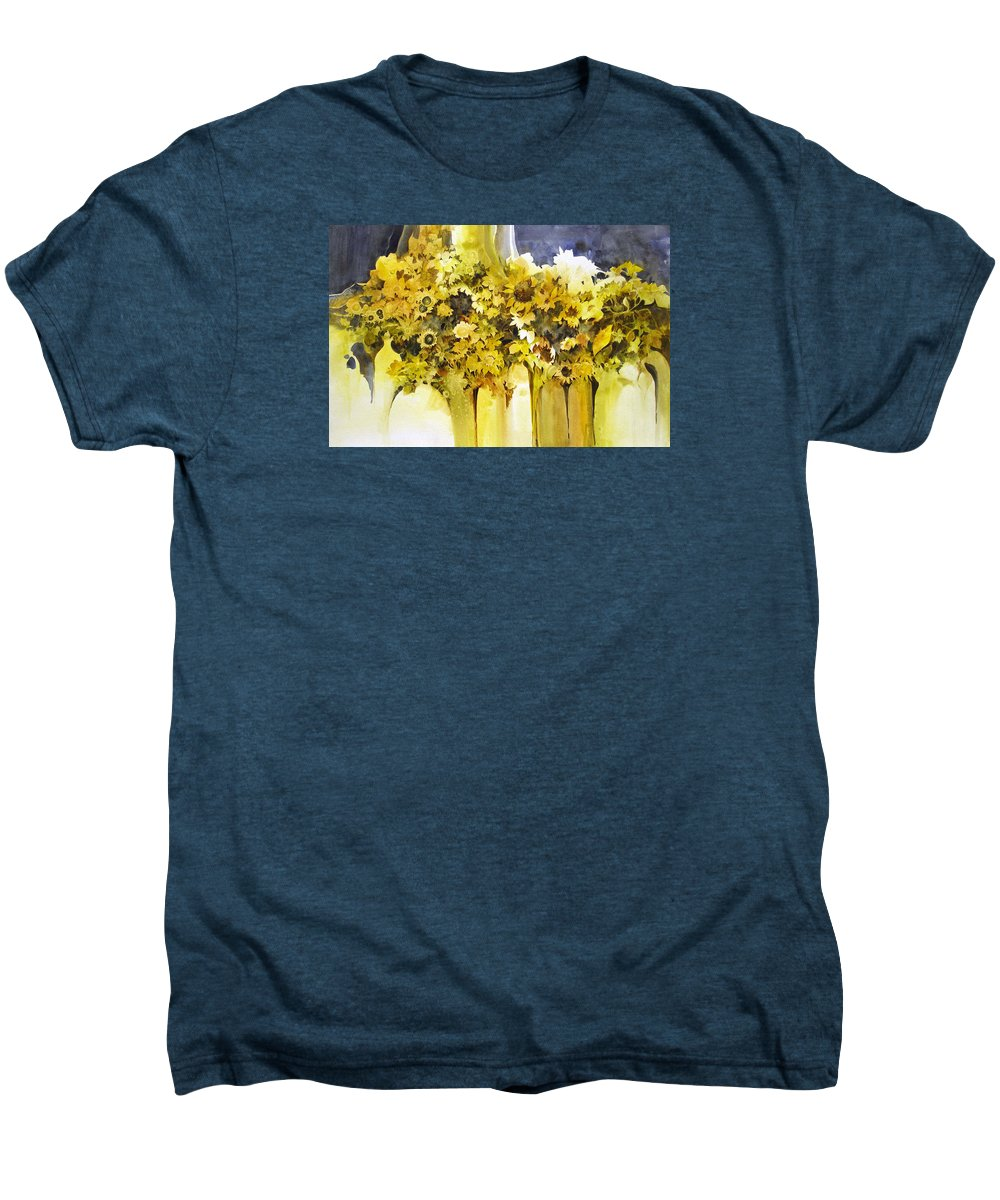 Yellow Flowers;sunflowers;vases;floral;contemporary Floral; Men's Premium T-Shirt featuring the painting Vases Full Of Blooms  by Lois Mountz
