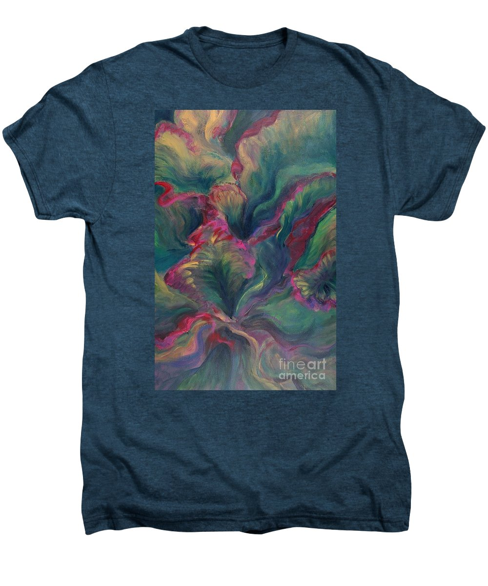 Leaves Men's Premium T-Shirt featuring the painting Vibrant Leaves by Nadine Rippelmeyer