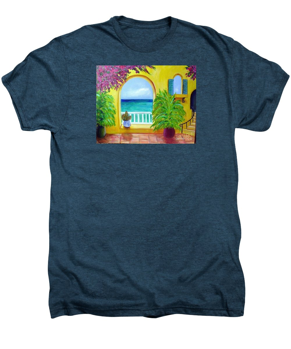 Patio Men's Premium T-Shirt featuring the painting Vista Del Agua by Laurie Morgan